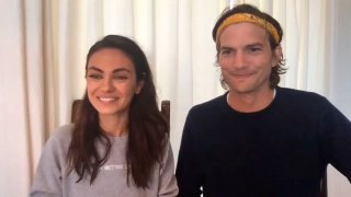 """In this May 4, 2020, file photo, Mila Kunis and Ashton Kutcher appear on """"The Tonight Show Starring Jimmy Fallon."""""""