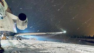 Delta flight 2231 skids off the runway at Pittsburgh International Airport on Feb. 10, 2021.