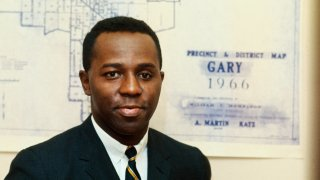 Former Gary, Indiana mayor Richard Hatcher is shown in front of a map of the city's precincts during the 1968 election