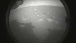 The first image sent back to Earth by Perseverance taken shortly after landing on Mars.