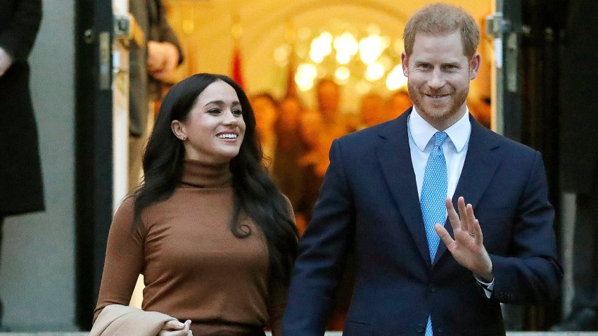 FILE - In this Jan. 7, 2020, file photo, Britain's Prince Harry and Meghan, Duchess of Sussex leave Canada House in London. Six months after detangling their work lives from the British royal family, the couple have signed a multiyear deal with Netflix. According to a statement Wednesday, they plan to produce nature series, documentaries and children's programming through a new production company. The two recently relocated to Santa Barbara, California, with baby Archie.