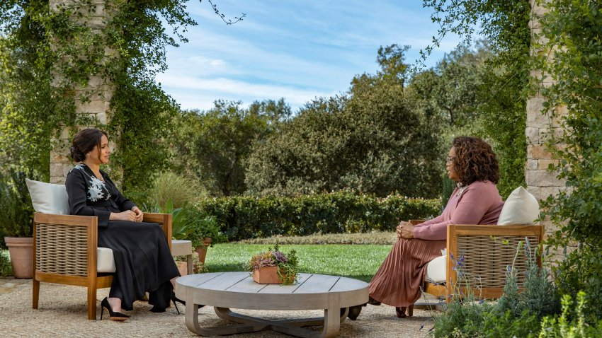 Meghan, The Duchess of Sussex, left, in conversation with Oprah Winfrey