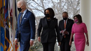 (from L) US President Joe Biden, US Vice President Kamala Harris, US Senate Majority Leader Chuck Schumer, Democrat of New York, and House Speaker Nancy Pelosi, Democrat of California, arrive for an event on the American Rescue Plan in the Rose Garden of the White House in Washington, DC, on March 12, 2021.
