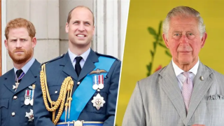 (Left) Prince Harry and Prince William, (Right) Prince Charles