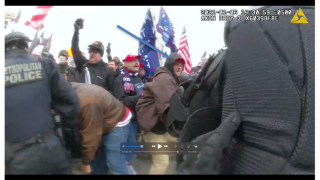 Police bodycam footage shared with FBI investigators that allegedly shows Massachusetts resident Troy Sargent at the Jan. 6, 2021, Capitol Riot in Washington, D.C.