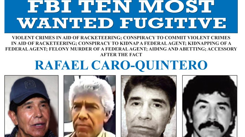"This image released by the FBI shows the wanted poster for Rafael Caro Quintero, who tortured and murdered U.S. Drug Enforcement Administration agent Enrique ""Kiki"" Camarena in 1985. On Wednesday, April 7, 2021, Mexican President Andres Manuel Lopez Obrador has defended the 2013 ruling that freed Caro Quintero, even though Mexico's Supreme Court later ruled it was a mistake."