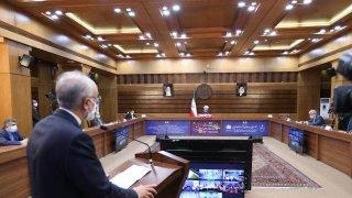 In this file photo, Head of the Atomic Energy Organization of Iran Ali Akbar Salehi speaks during opening ceremony of nuclear projects in different regions of the country via video conference on 11th anniversary of National Nuclear Technology Day in Tehran, Iran on April 10, 2021.