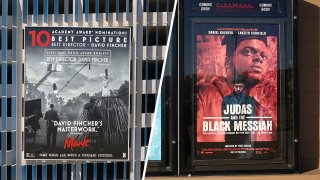 "Film posters for ""Mank"" (Left) and ""Judas and the Black Messiah."""