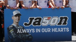 Banner in remembrance of Jason Dupasquier