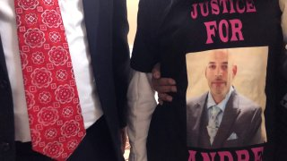 """Andre Hill, fatally shot by Columbus police on Dec. 22, is memorialized on a shirt worn by his daughter, Karissa Hill, on Thursday, Dec. 31, 2020, in Columbus, Ohio. Karissa Hill said she considered her father an """"everything man"""" because he did so many things."""
