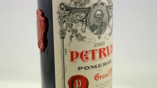 A bottle of Petrus red wine that spent a year orbiting the world