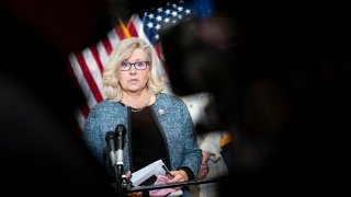 Rep. Liz Cheney (R-WY) speaks during a press conference following a House Republican caucus meeting on Capitol Hill on April 20, 2021 in Washington, DC.