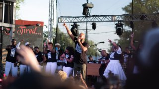 Common, performs on stage during a 'Rise and Remember' event at George Floyd Square in Minneapolis, Minnesota