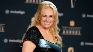 """In this Tuesday, Feb. 2, 2021, file photo, Rebel Wilson poses on the red carpet during the NFL Honors football awards show, in Los Angeles. Wilson returns to her roots as host of ABC's """"Pooch Perfect,"""" an eight-episode series featuring 10 dog groomers and their assistants competing in challenges. The show, which debuts March 30, is based on an Australian version."""