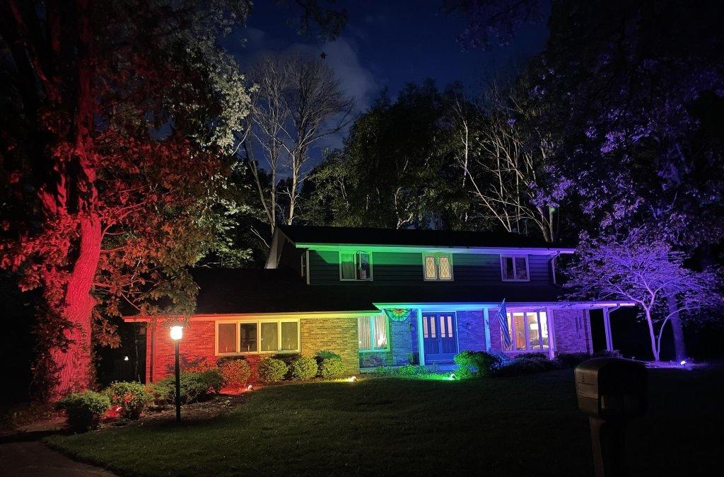 rainbow floodlights pride