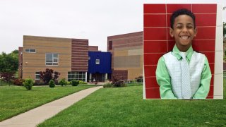 The parents of 8-year-old Gabriel Taye, inset, have reached a tentative $3 million settlement with Cincinnati Public Schools after Taye died by suicide in 2017 due to bullying at Carson School, pictured above.