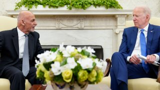 President Joe Biden, right, meets with Afghan President Ashraf Ghani, left, in the Oval Office of the White House in Washington, Friday, June 25, 2021.