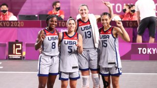 Jackie Young, Stefanie Dolson, Allisha Gray and Kelsey Plum #5 of the USA Women's National 3x3 Team celebrated winning the game against Russian Olympic Committee 3x3 Team during the 2020 Tokyo Olympics