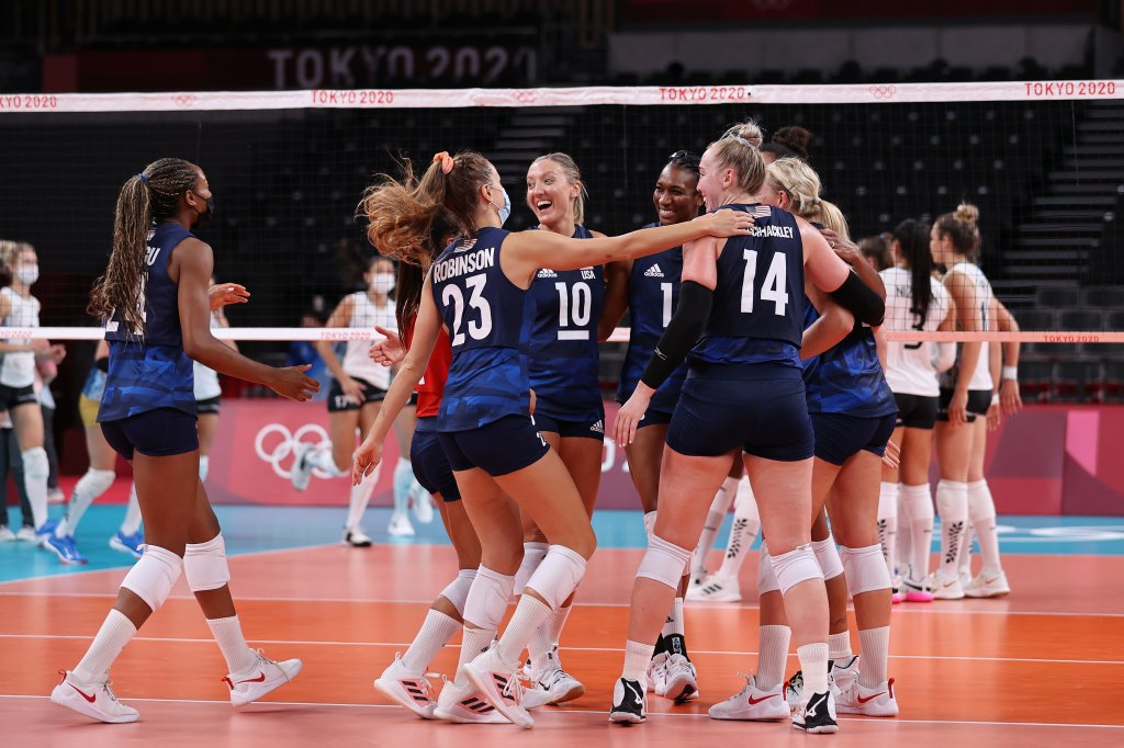 Team United States celebrates after defeating Team Argentina during the Women's Preliminary - Pool B on day two of the Tokyo 2020 Olympic Games at Ariake Arena on July 25, 2021 in Tokyo, Japan.