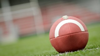 football sitting on goal line