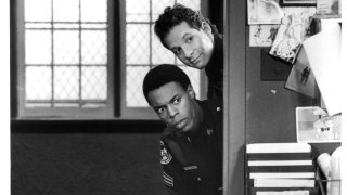 """Actor Steve Guttenberg, Michael Winslow on set of the movie """"Police Academy 4: Citizens on Patrol"""""""