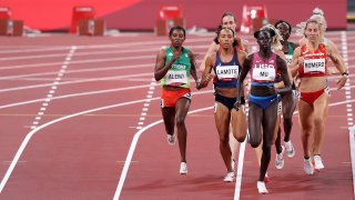 Athing Mu of Team United States leads her Women's 800m Semi-Final field on day eight of the Tokyo 2020 Olympic Games