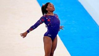 Simone Biles competes on floor
