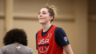 LAS VEGAS, NV - JULY 15: Katie Lou Samuelson #33 of the USA Women's National 3x3 Team looks on during USAB Womens 3x3 National Team practice at the Mandalay Bay Convention Center on July 15, 2021 in Las Vegas, Nevada.
