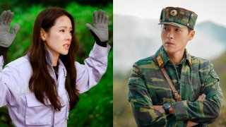 """Son Ye-jin, left, and Hyun Bin in scenes from the South Korean drama series """"Crash Landing on You."""""""