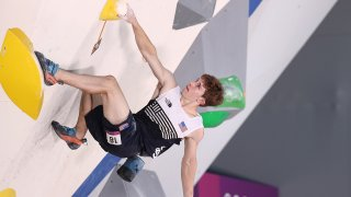 Colin Duffy of the United States was the only competitor to place top 10 in all three climbing disciplines in the sport climbing men's qualification round.