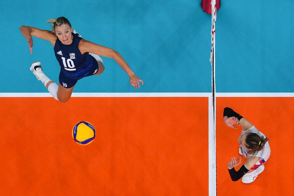 USA's Jordan Larson spikes the ball
