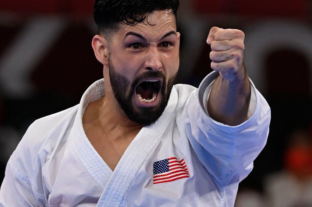 Ariel Torres competes in karate