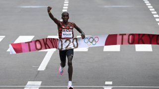 Kenya's Eliud Kipchoge crosses the finish line to win the Men's Marathon final during the Tokyo 2020 Olympic Games in Sapporo, Japan on Aug. 8, 2021.