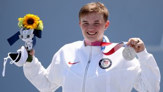 BMX freestyle rider Hannah Roberts poses with her silver medal