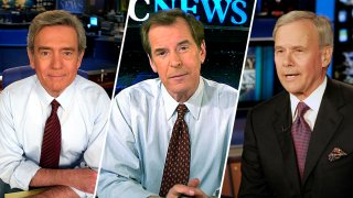From left: CBS' Dan Rather, ABC's Peter Jennings and NBC's Tom Brokaw were three broadcasters who covered the events of September 11. Each had extensive reporting experience before that – Brokaw and Rather were at the White House during Watergate, and Jennings has been a foreign correspondent.