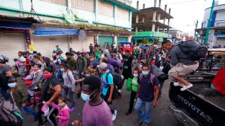 A caravan of migrants heading towards U.S.-Mexico border