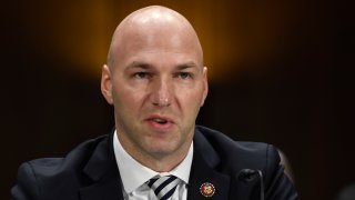 FILE - In this Tuesday, Feb. 11, 2020, file photo, Rep. Anthony Gonzalez, R-Ohio, speaks during a Senate Commerce subcommittee hearing on Capitol Hill in Washington, on intercollegiate athlete compensation. Federal legislation setting guidelines for college athletes to pursue money-making opportunities could be proposed within a month, and Gonzalez, who is planning to introduce it, said Thursday, June 4, 2020, there will be no blanket antitrust exemption for the NCAA.