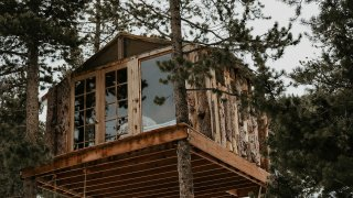This undated photo provided by Jessica Brookhart shows a treehouse owned by Brookhart in Gold Hill, Colorado