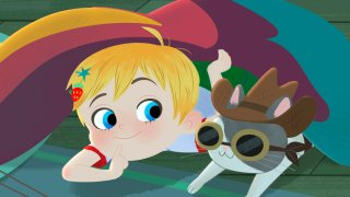 """This image released by Warner Bros. Animation shows characters Little Ellen, left, and Charlie in a scene from the animated series """"Little Ellen,"""" part of Cartoonito"""