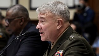 Marine Corps Gen. Kenneth F. McKenzie, commander of U.S. Central Command, testifies before the House Armed Services Committee on the conclusion of military operations in Afghanistan, Wednesday, Sept. 29, 2021, on Capitol Hill in Washington.