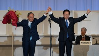 Japan Fumio Kishida (R), former foreign minister