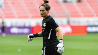 HARRISON, NJ - AUGUST 29: Erin McLeod #1 of the Orlando Pride before a game between Orlando Pride and NJ/NY Gotham City FC at Red Bull Arena on August 29, 2021 in Harrison, New Jersey.