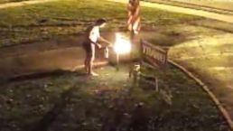 Underwear-Clad Torches Neighor's Trump Sign