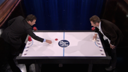 WATCH: Duchovny Plays Beer Hockey With Fallon