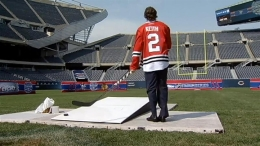 Duncan Keith Shoots Field Goals at Soldier Field