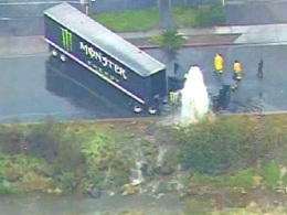Semi-Truck Slams into Fire Hydrant