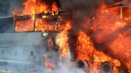 Bus Catches Fire on Turnpike