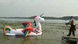Deputies Reel in Women Stranded on Waterborne Unicorn
