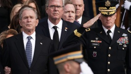 Nation Bids Goodbye to Bush With High Praise, Cannons, Humor