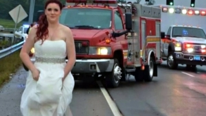Still in Her Wedding Dress, Bride Rushes to Help at Car Crash